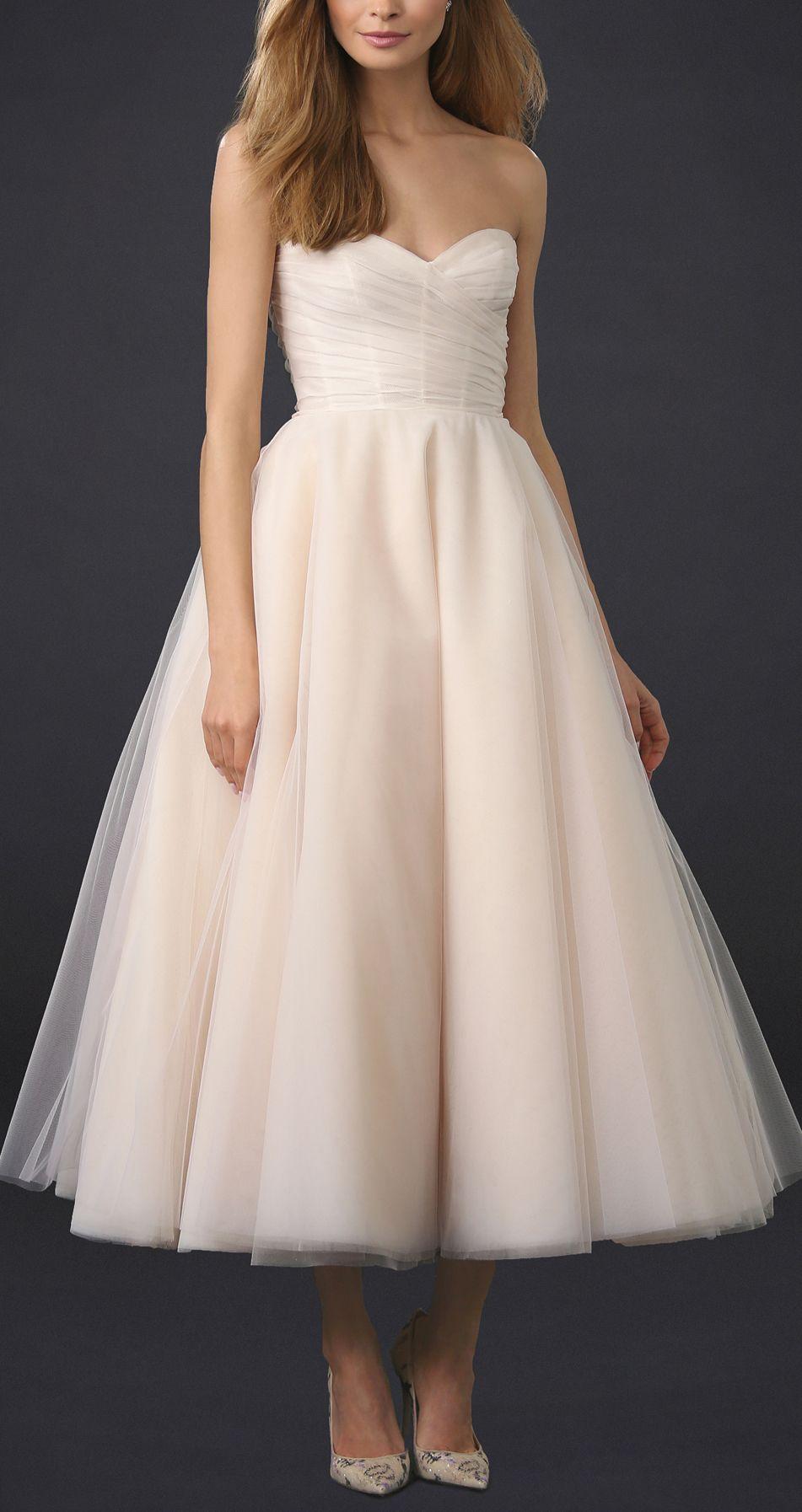 Blush tea length wedding dress Tea length dresses
