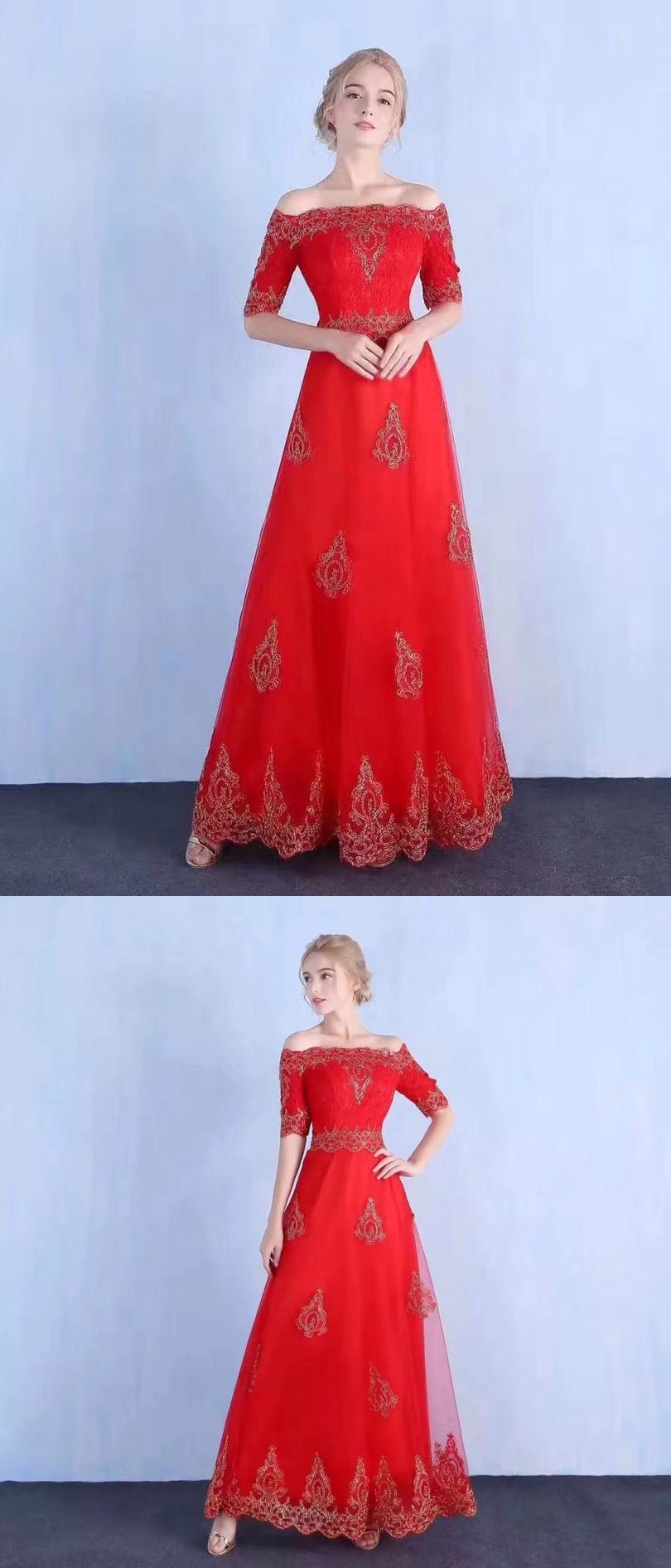 Red prom dresses offtheshoulder floorlength appliques sexy prom