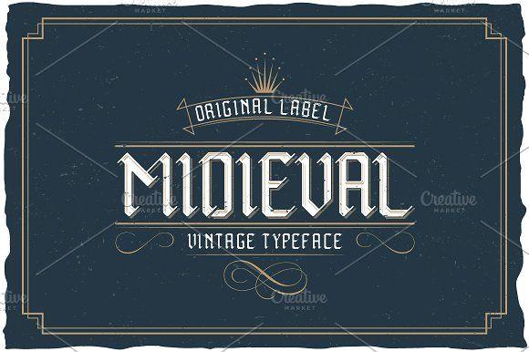 Midieval  Vintage Label Typeface font @creativework247