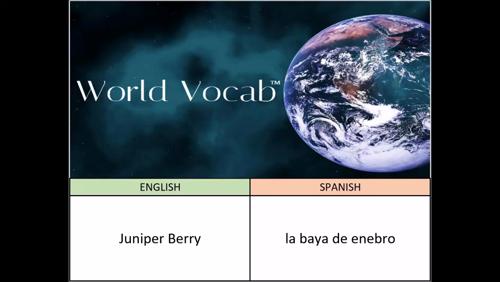 Juniper Berry - la baya de enebro Spanish Vocabulary Builder Word Of The Day #362 ! Full audio practice at World Vocab™! https://video.buffer.com/v/582e2222bee212b24264ca38