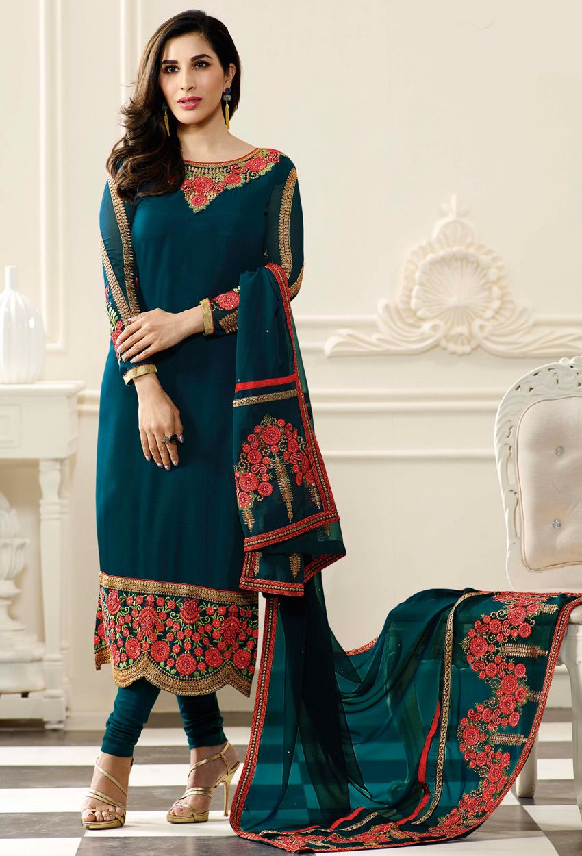 4dcf9cd0a6 #Prussian #Blue Georgette #Straight Cut #Salwar #Kameez #nikvik #usa # designer #australia #canada #freeshipping #bollywood