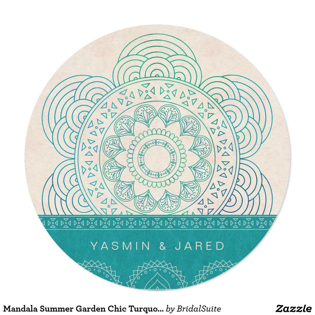 Mandala Summer Garden Chic Turquoise Wedding 13 Cm X 13 Cm Square Invitation…