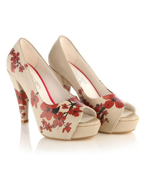 Look at this White & Red Blossom Pump on #zulily today!