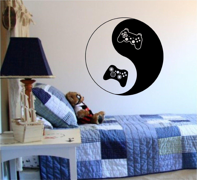 Yin Yang Video Game Controllers Decal Sticker Wall Boy Girl Teen