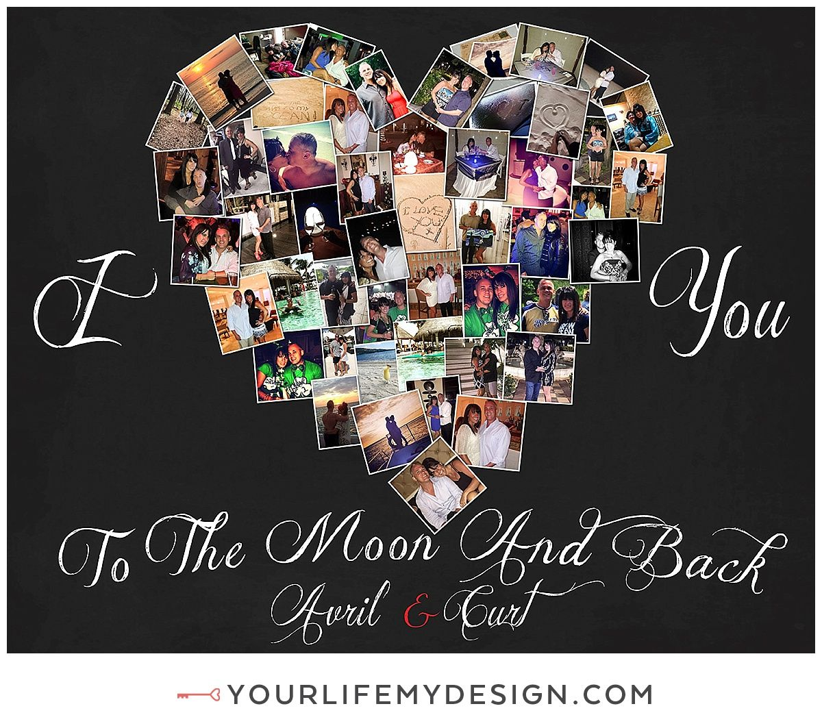 16x20 With 47 Photos I Love You To The Moon And Back Heart Collage