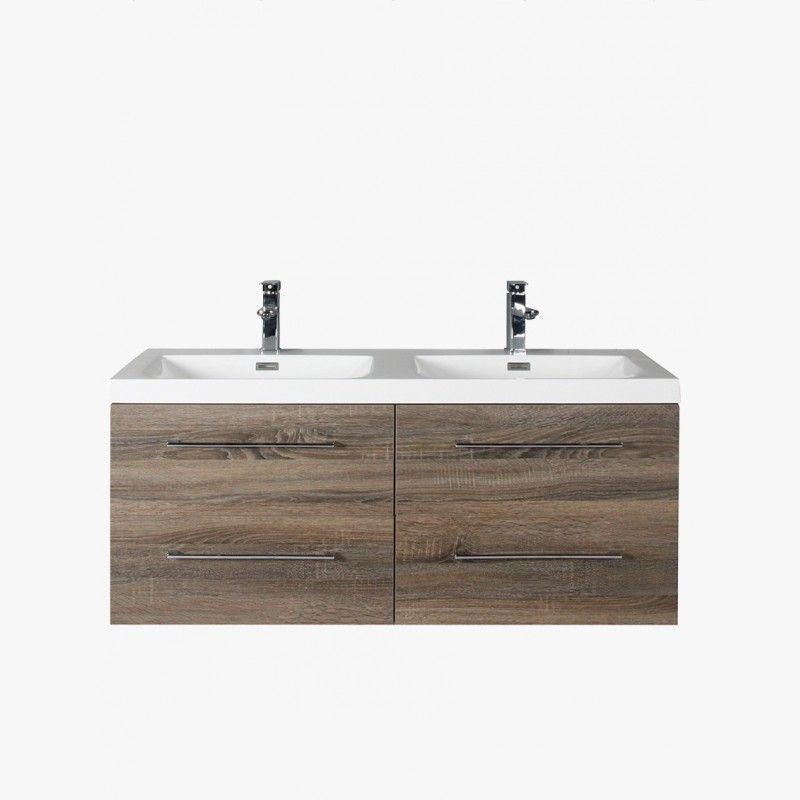 Aquasun meuble salle de bain double vasque 120 cm gris avec 4