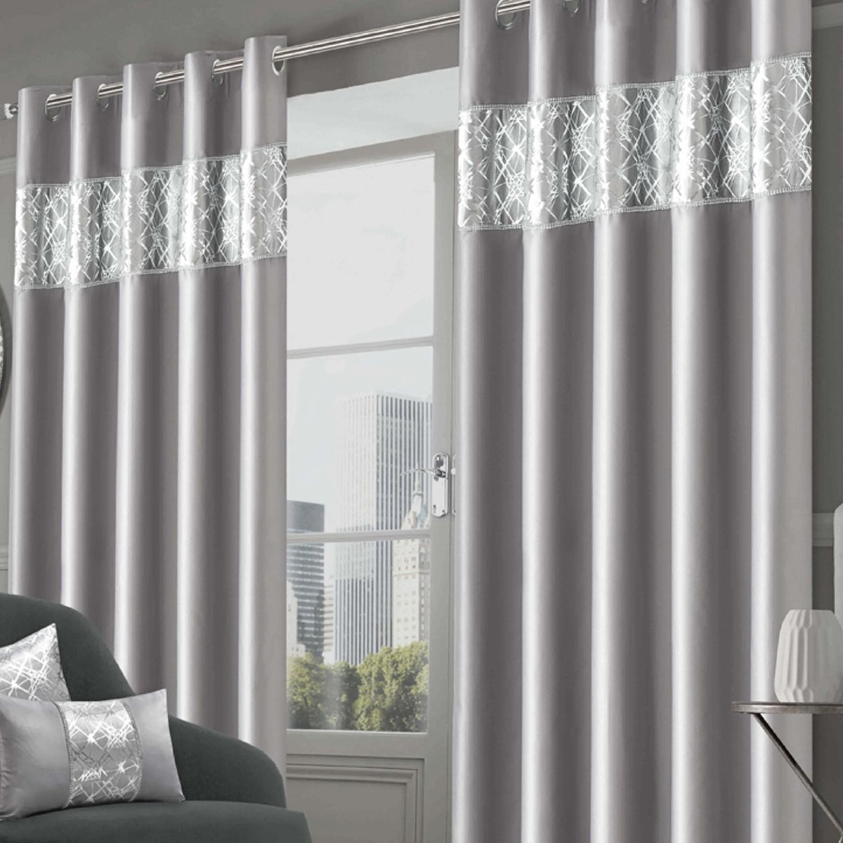 Bedroom Curtains Shimmer Collection Silver Eyelet Dekorasi Rumah Rumah Dekorasi
