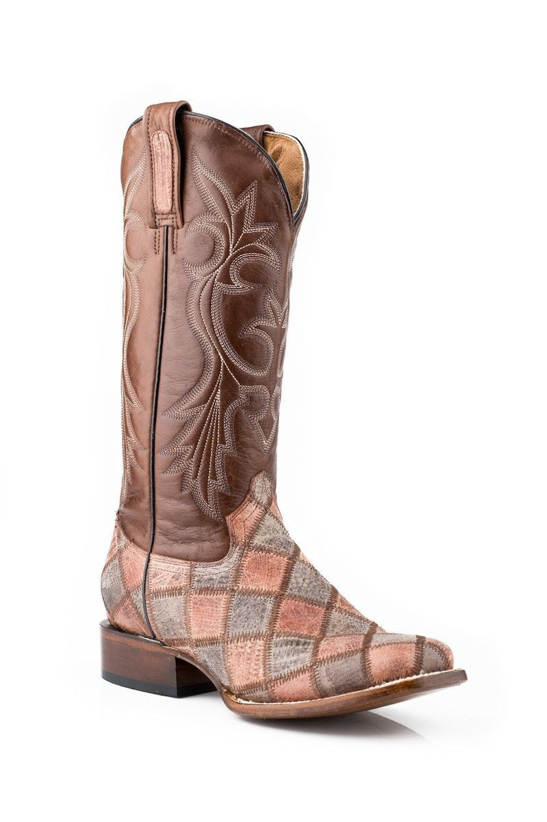 3ecbf72a90dcf Roper Womens Embossed Brown Exotic Faux Teju Lizard Leather Square Toe  Cowboy Boots