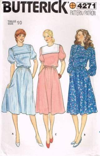 4271 Sewing Pattern Vintage Butterick Ladies Sailor Collar Dress 10 ...