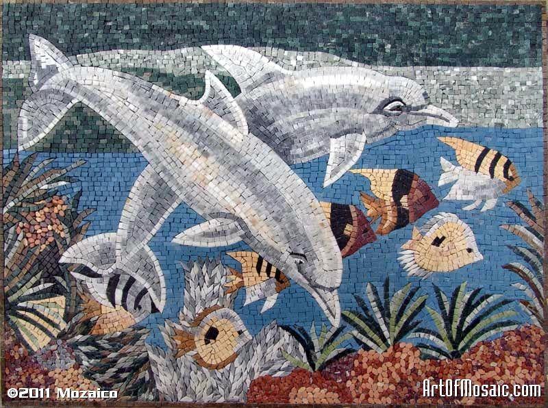 Dolphin mosaics mosaici piastrelle e acquario