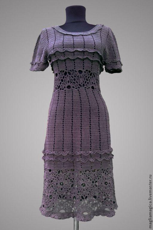 Купить Долли - коричневый, однотонный, платье вязаное, платье летнее, платье крючком, коричневое платье