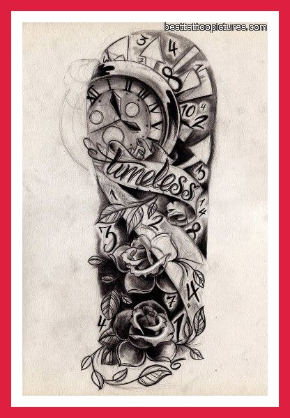 """tattoo designs Half sleeve with """"Time waits for no one"""