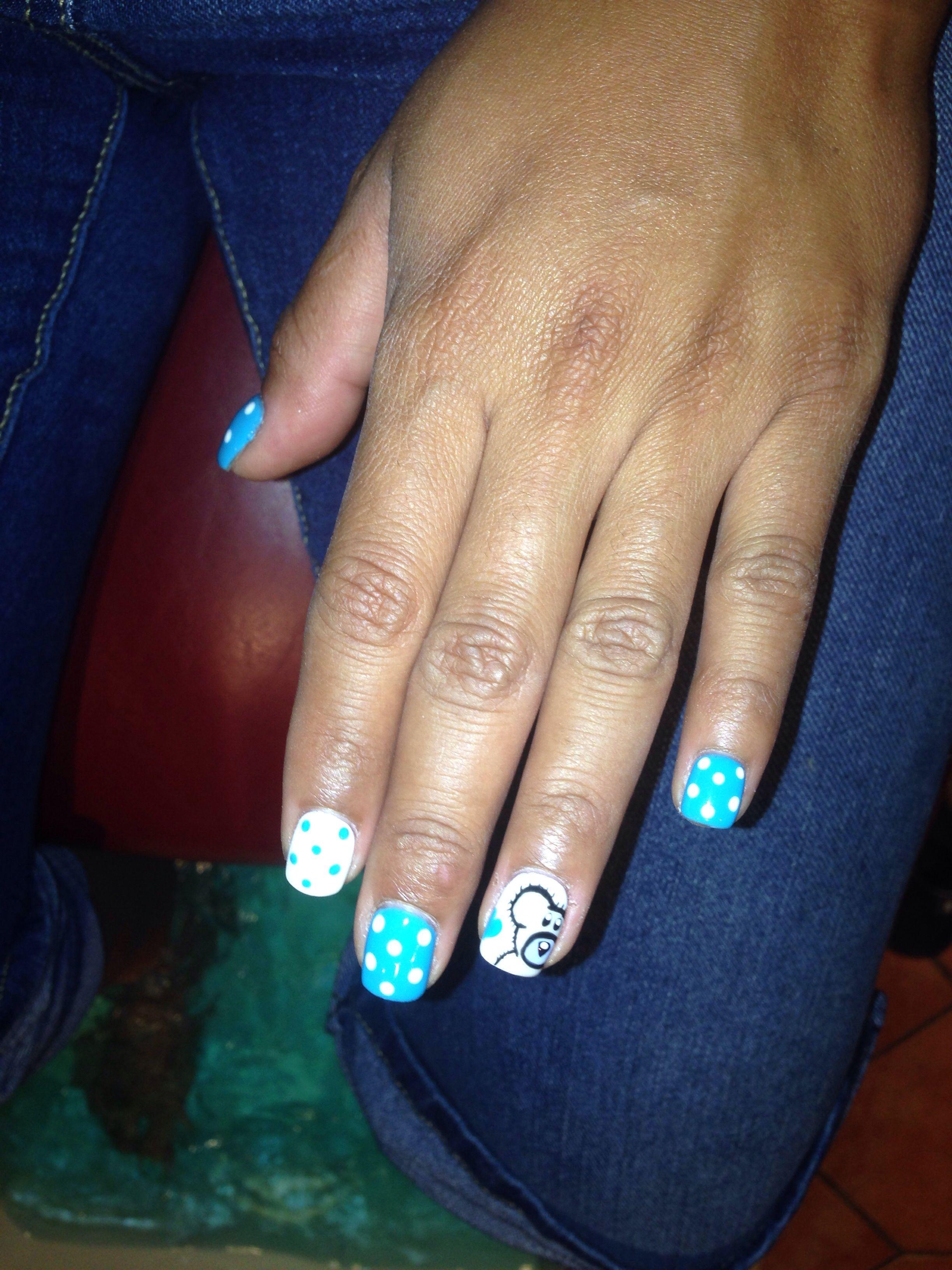 My teddy bear nail art to honor my baby bears soon arrival nails