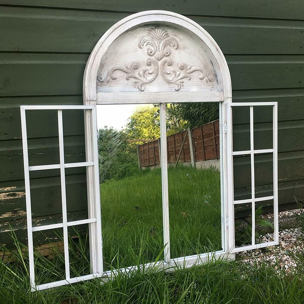 Details About Vintage Rustic White Metal Arched Garden Mirror