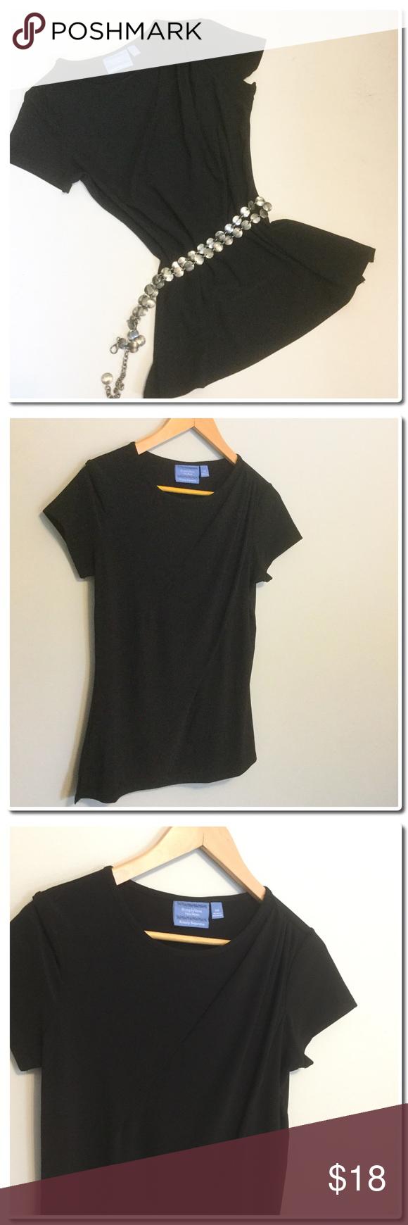 Simply Vera Wang Drape Front Blouse Simply Vera Wang Drape Front Blouse- Worn Once - Shirt sleeves -Side vents-96% Polyester 4% Spandex - Machine Wash- Tumble Low Simply Vera Vera Wang Tops