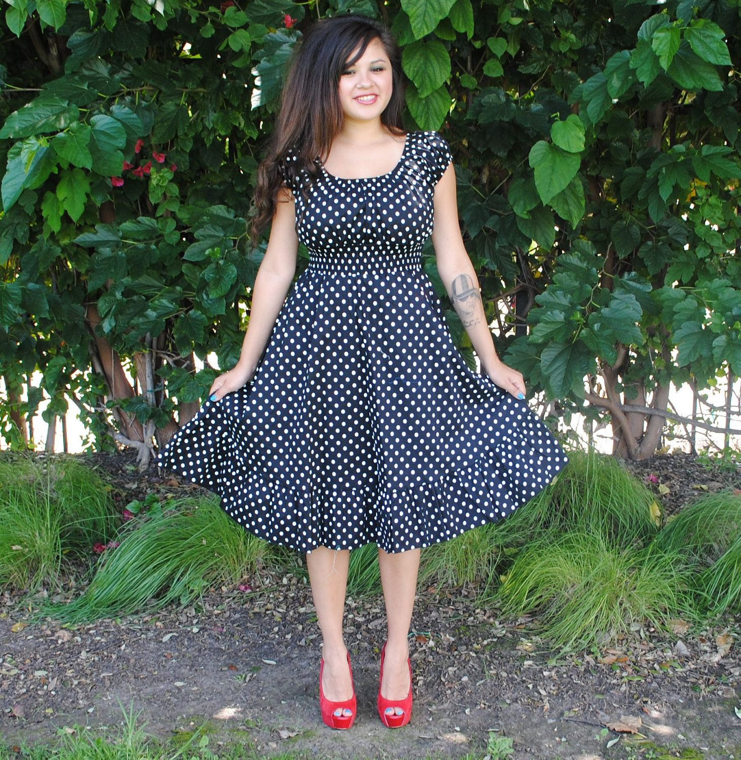Womens Plus Size Dress BLACK Polka Dot Rockabilly,Pin Up,Retro ...