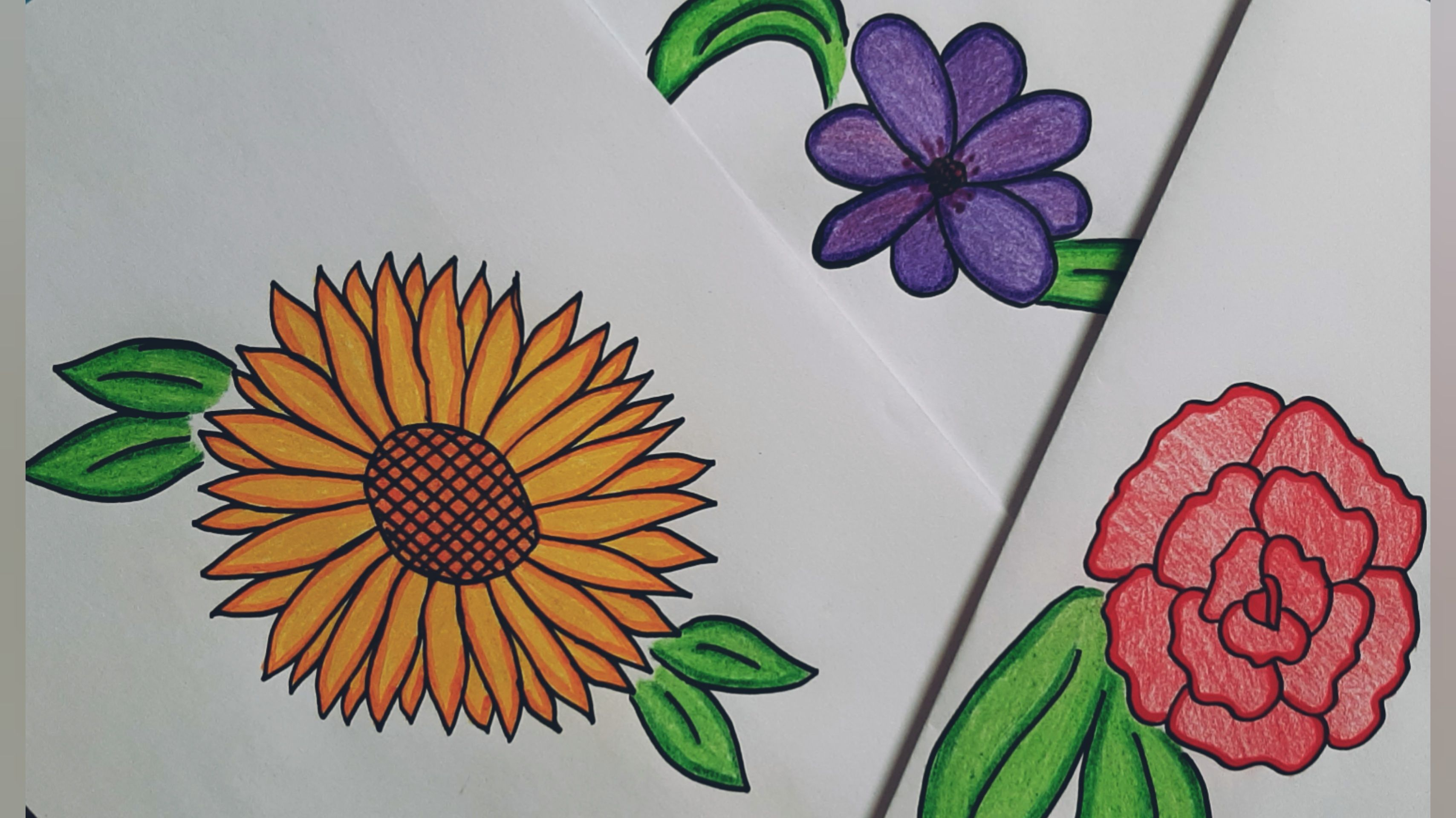 How To Draw Flower In Three Different Ways رسم وردة بثلاث طرق مختلفة Drawing For Kids Cartoon Drawings Drawings
