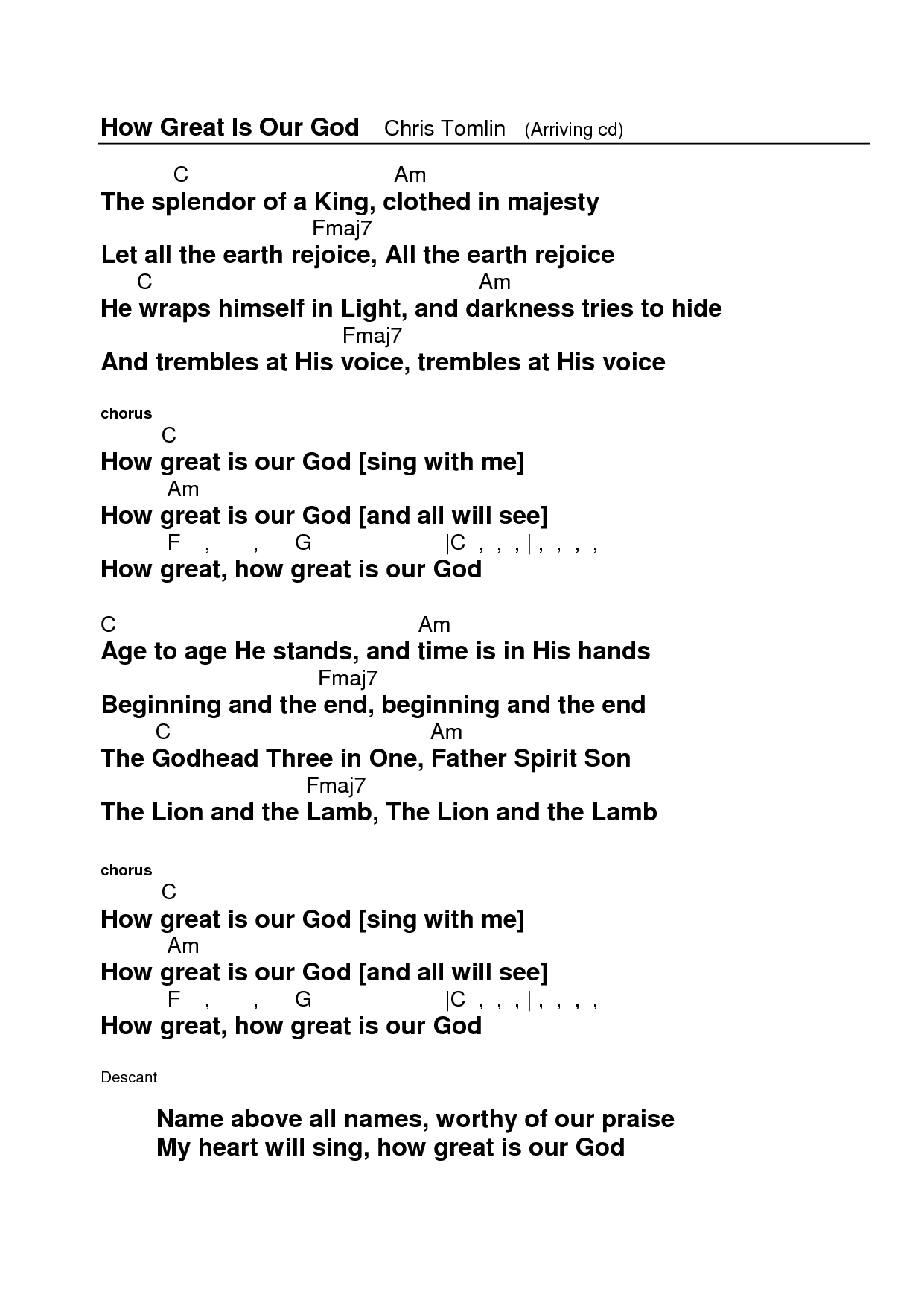 How Great Is Our God | Sheet Music Direct  |How Great Is Our God Lyrics