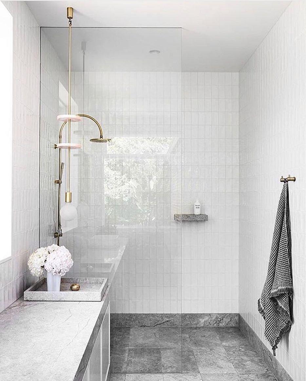 Bathroom Grey Floor Tiles White Walls Trendecors