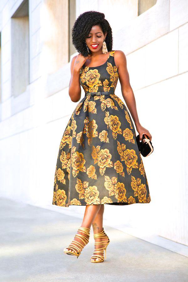 African Print Senegal Midi Dress: NYE: Golden Rose Midi Dress