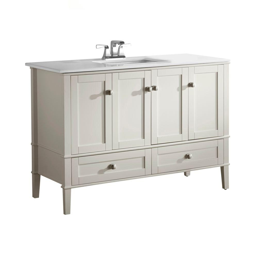 Simpli Home Chelsea 48 In Bath Vanity In Soft White With
