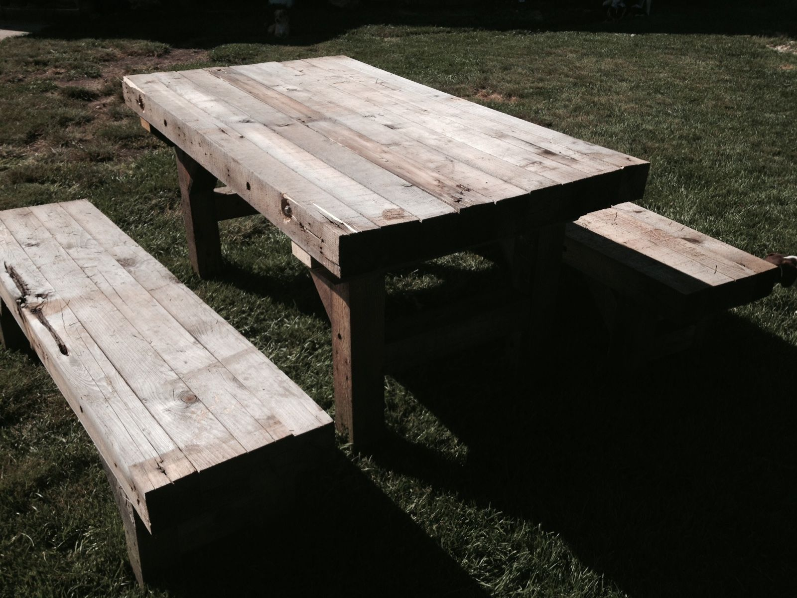 Genial Rustic Reclaimed Picnic Table. Light Colored.