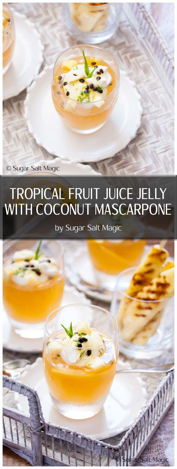 Refreshing Tropical Fruit Juice Jelly is a super easy homemade jelly dessert for a crowd (or a few). Add some coconut mascarpone to make it extra special. #fruitjuicejelly #easydessert via @sugarsaltmagic