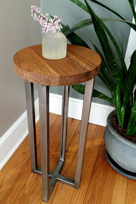 Round Side End Table With Reclaimed Wood Industrial Steel Base