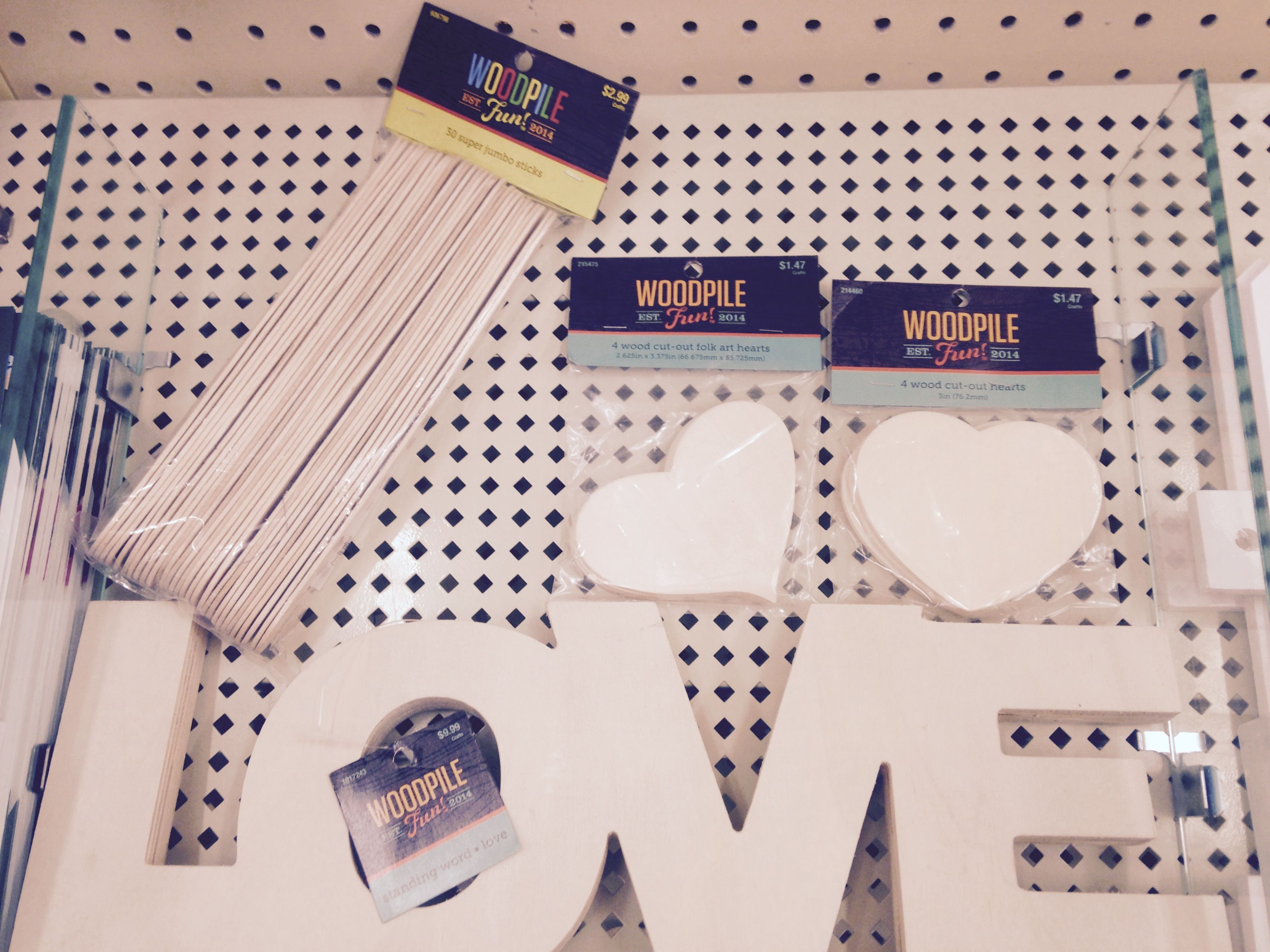 """Extra jumbo craft sticks & 3"""" wooden hearts for """"date night jar"""", wooden LOVE sign @ hobby lobby"""