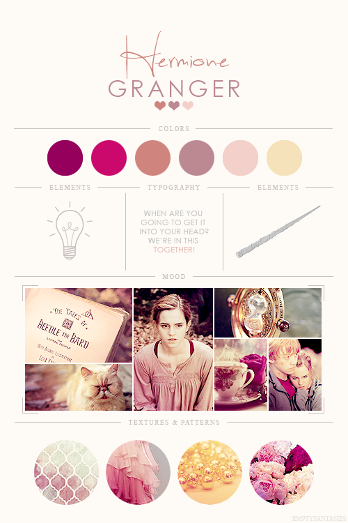 EmptyFantasies' Character Mood Boards - 6/?Hermione Granger - Harry Potter Series #moodboards