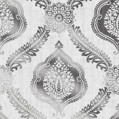 """Brewster Home Fashions Alhambra Zoraya 33' x 20.5"""" Damask 3D Embossed Wallpaper Color: Silver"""