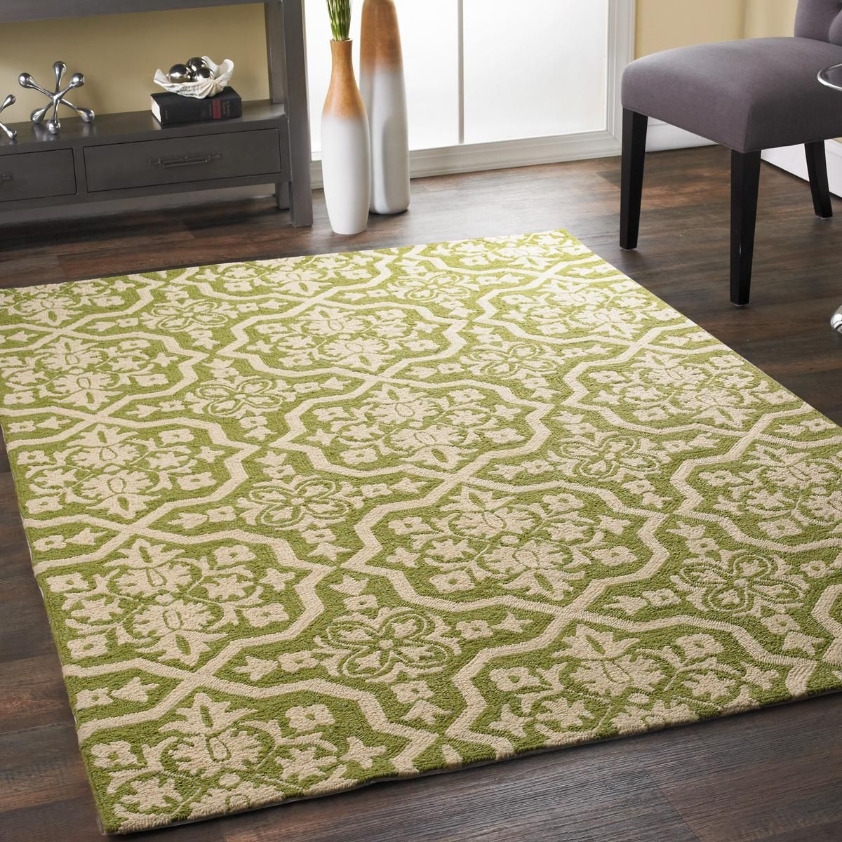 Leaf Green Trellis Indoor Outdoor Rug With The Appeal Of A