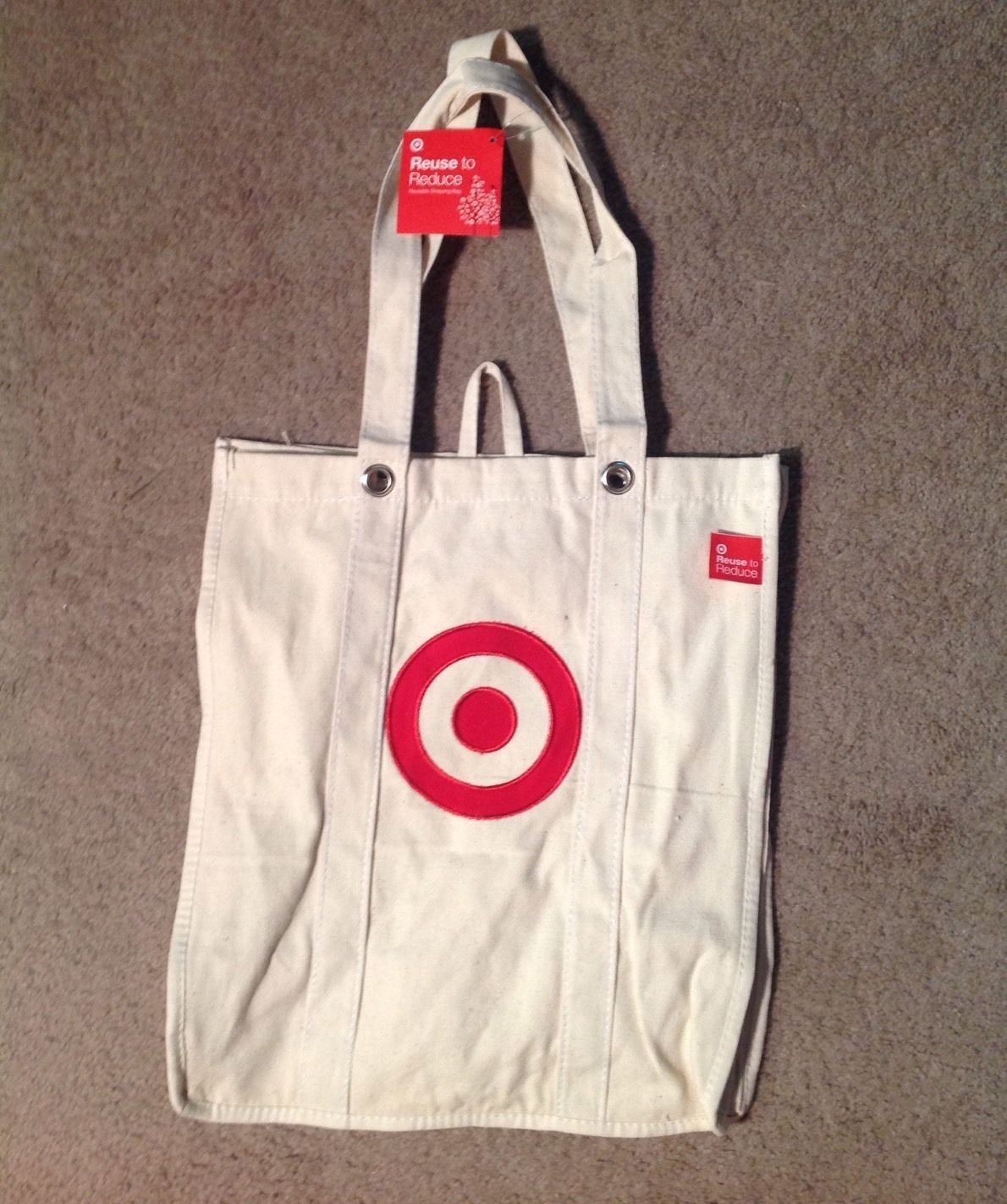 Target Reusable Ping Bag Red Bullseye Natural Canvas Large Grocery 15 5 X 14