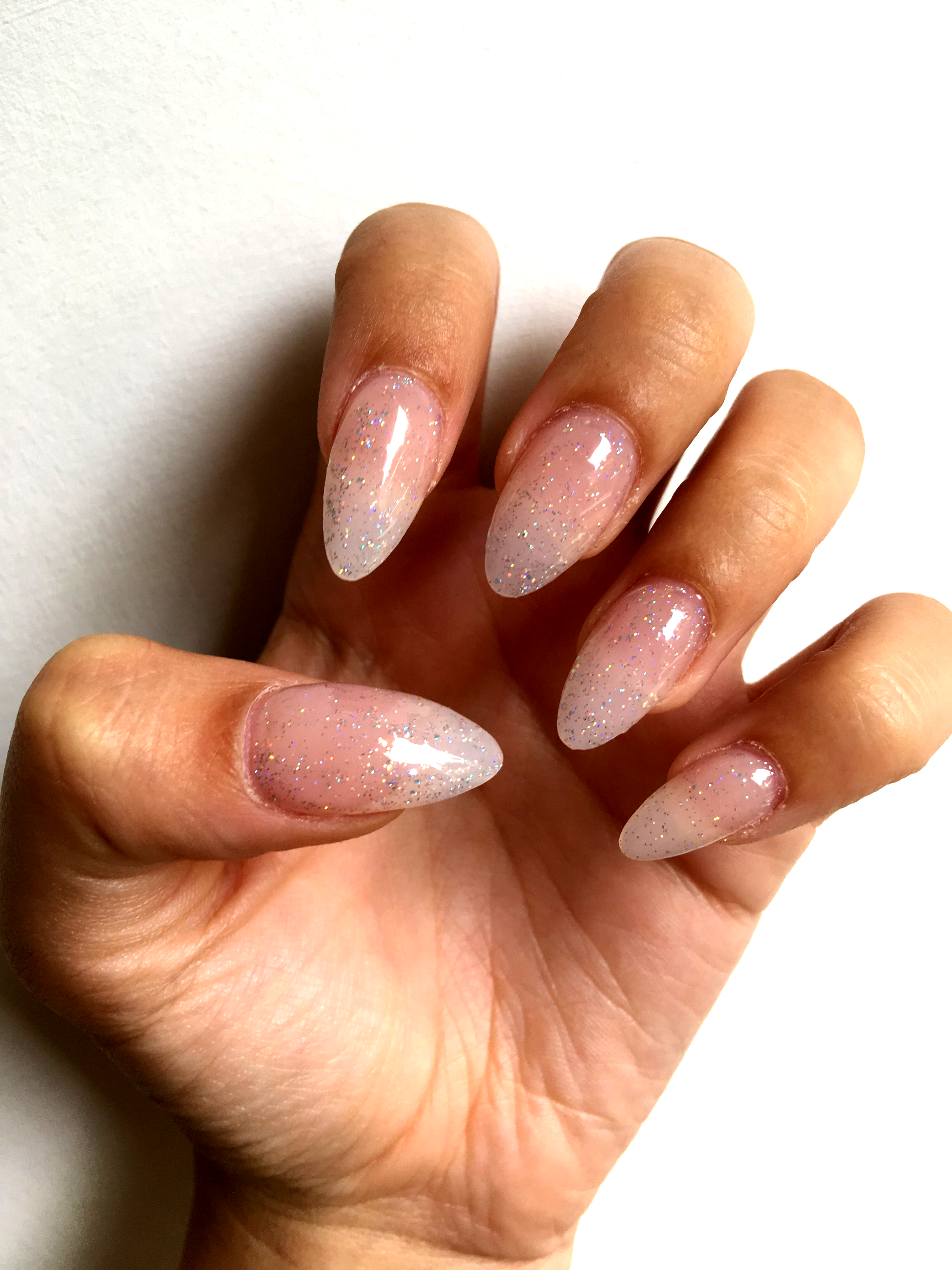 Clear Acrylic Almond Nails With Gel Glitter Polish In 2020 Almond Acrylic Nails Designs Clear Glitter Nails Almond Acrylic Nails