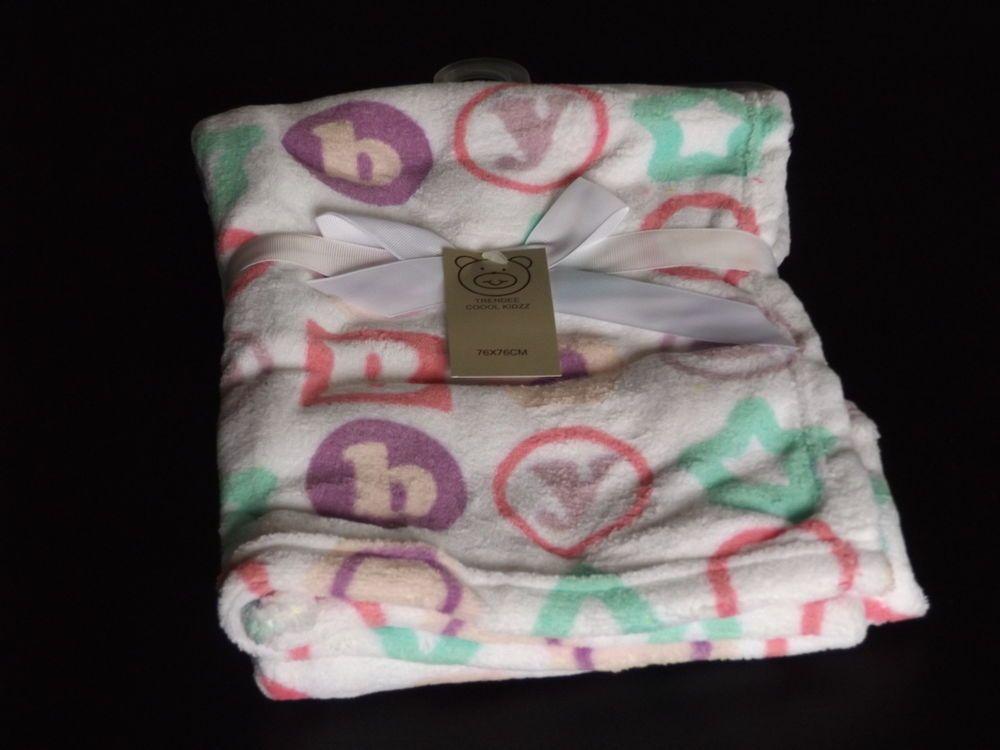 Baby Blanket Fleece White Alphabet Soft Pram Cot Crib 76x76 100 Polyester Pink Pram Baby Blanket