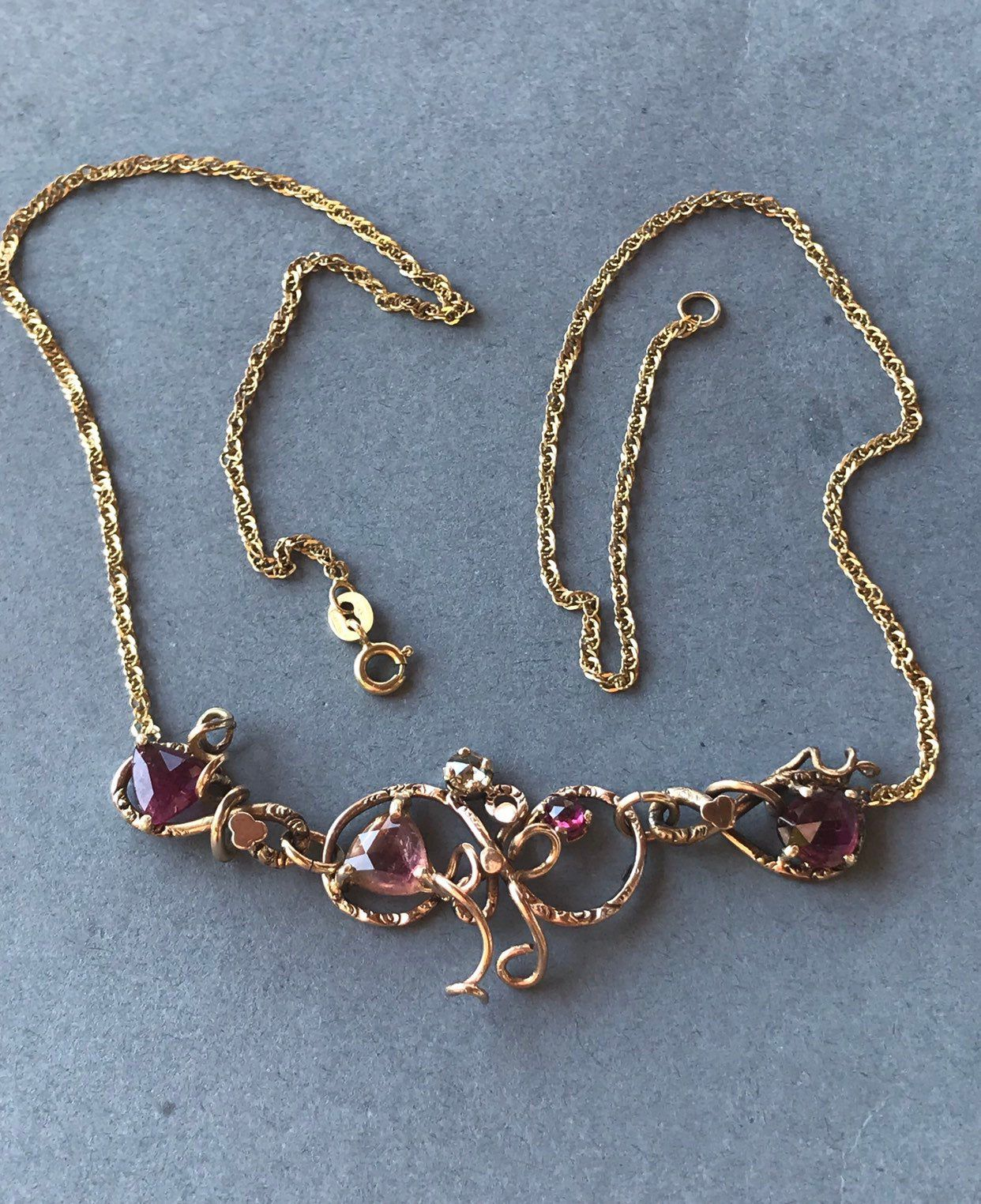 Antique Vintage 10k Rose Gold Tourmaline 14k Yellow Gold Chain Etsy Yellow Gold Chain Chain Statement Necklace Jewelry Questions