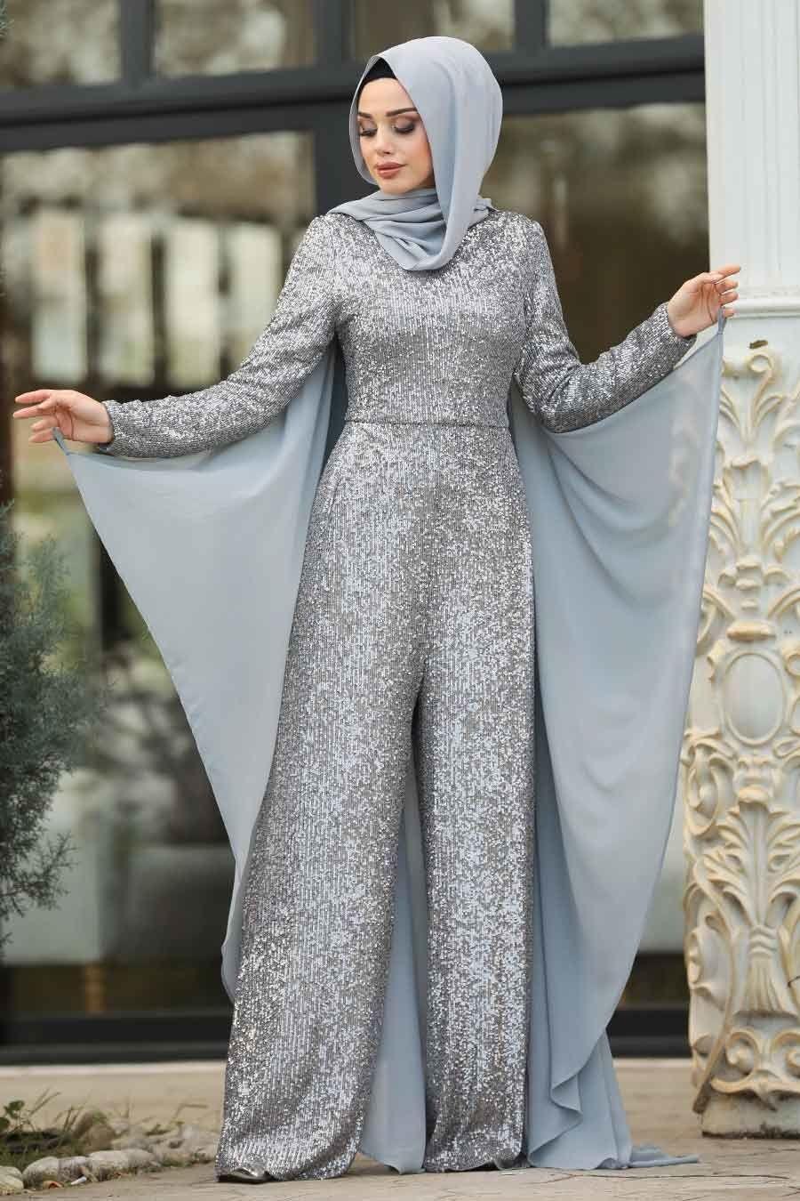 Tesetturlu Abiye Elbise Pul Payetli Gri Tesettur Abiye Tulum 38870gr Tesetturisland Com Moda Stilleri Elbise Kadin Olmak
