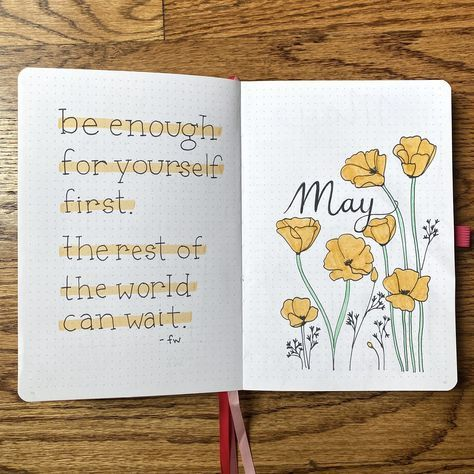 Plan With Me | May 2020 Bullet Journal Setup with Golden Poppies Theme / California State Flower