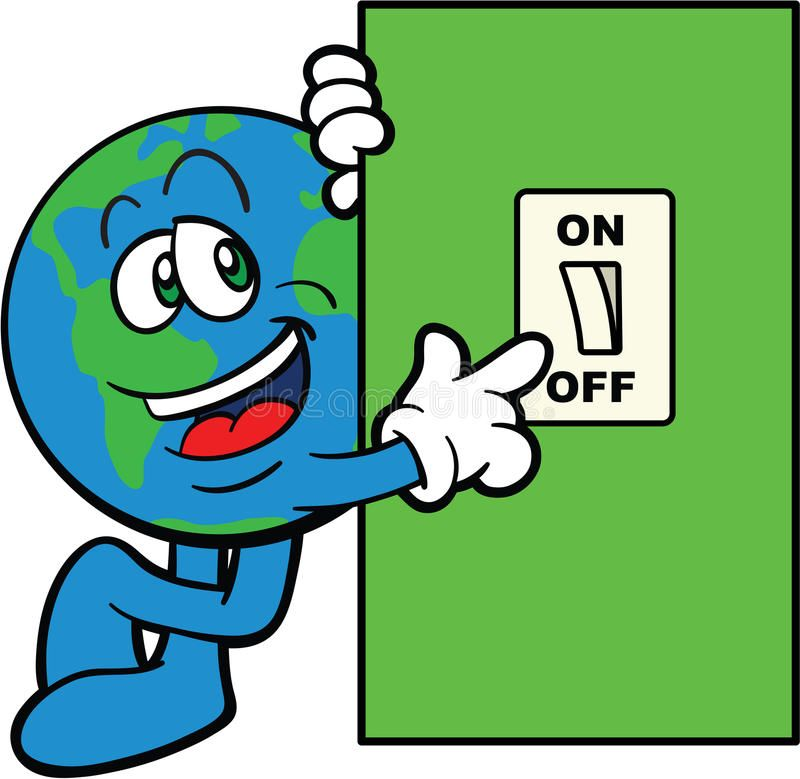 Earth Cartoon Mascot Switch Off Vector Illustration Of A Planet Earth Cartoon S Aff Switch Vector Energy Conservation Poster Rainy Day Drawing Clip Art