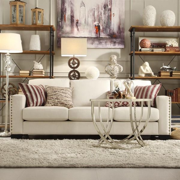Best Living Room Furniture Deals: INSPIRE Q Torrington White Linen Nailhead Track Arm Sofa