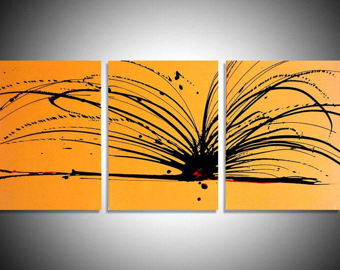 modern art painting triptych contemporary yellow large wall hanging ...