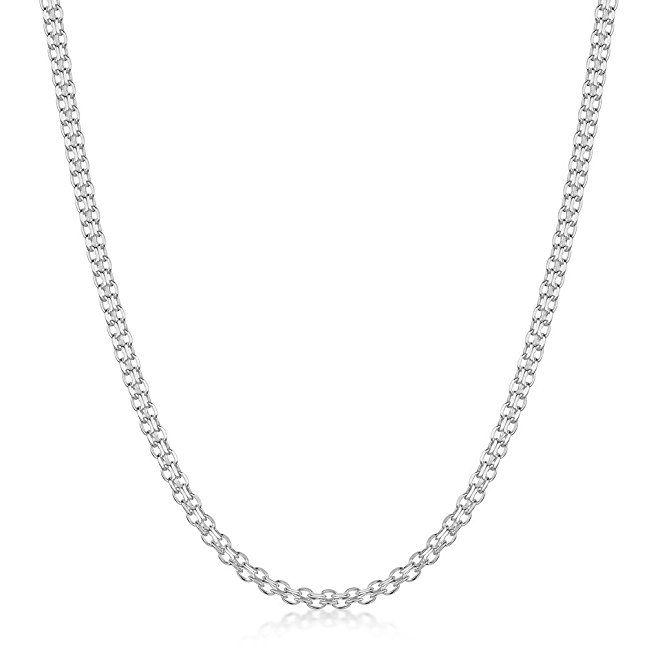 Amberta 925 Sterlingsilber Halskette - Bismarck Kette - 2.2 mm Breite - Verschiedene Längen: 40 45 50 55 60 cm (45cm): Amazon.de: Schmuck