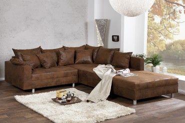 Modernes Ecksofa Loft 220cm Braun Used Look Inkl Hocker Kissen Beidseitig Aufbaubar Sofa Loft Ecksofa Und Sofa