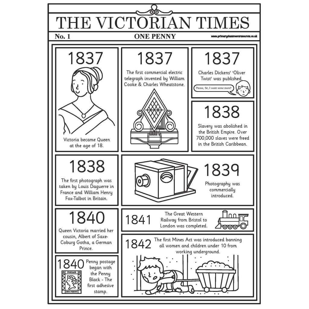 Victorian Timeline Newspaper