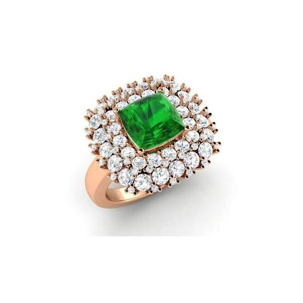 Diamondere Asscher-Cut Emerald VS Diamond 14k Rose Gold Sidestone Ring (€4.465) ❤ liked on Polyvore featuring jewelry, rings, 14k engagement ring, 14k diamond ring, emerald ring, asscher cut diamond ring and diamond cluster ring