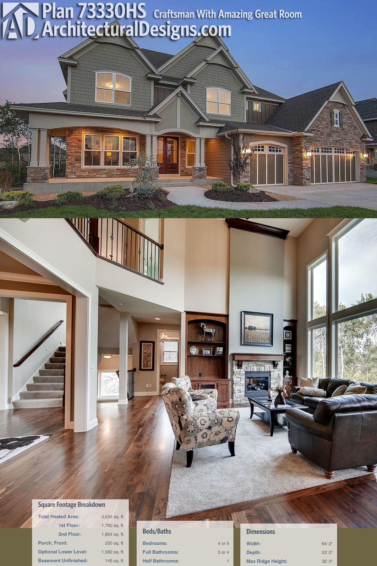 Architectural Designs Exclusive Craftsman House Plan 73330HS