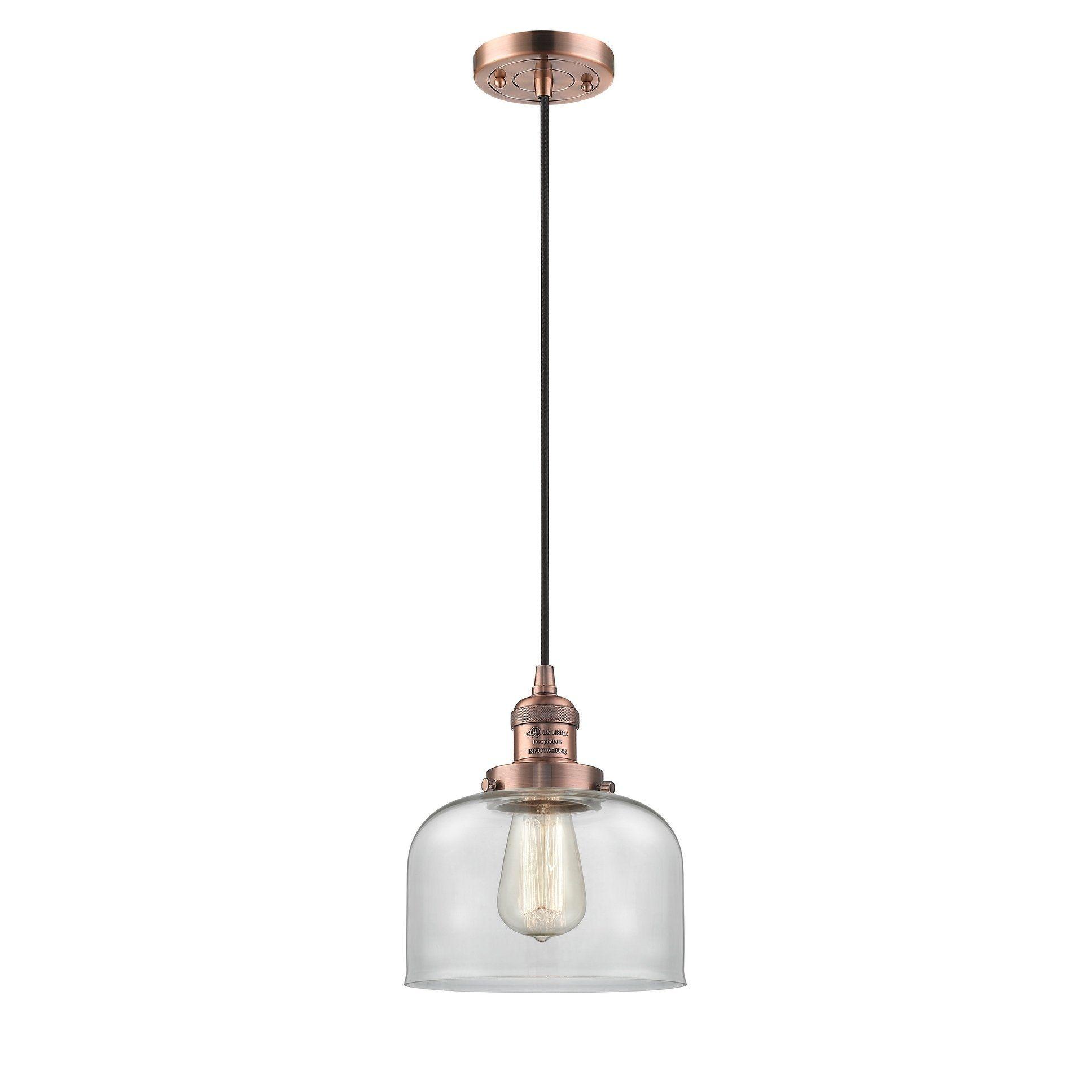 Innovations Lighting Large Bell 1 Light Adjustable Cord Mini Pendant Pendant Lighting Track Lighting Fixtures Polished Nickel