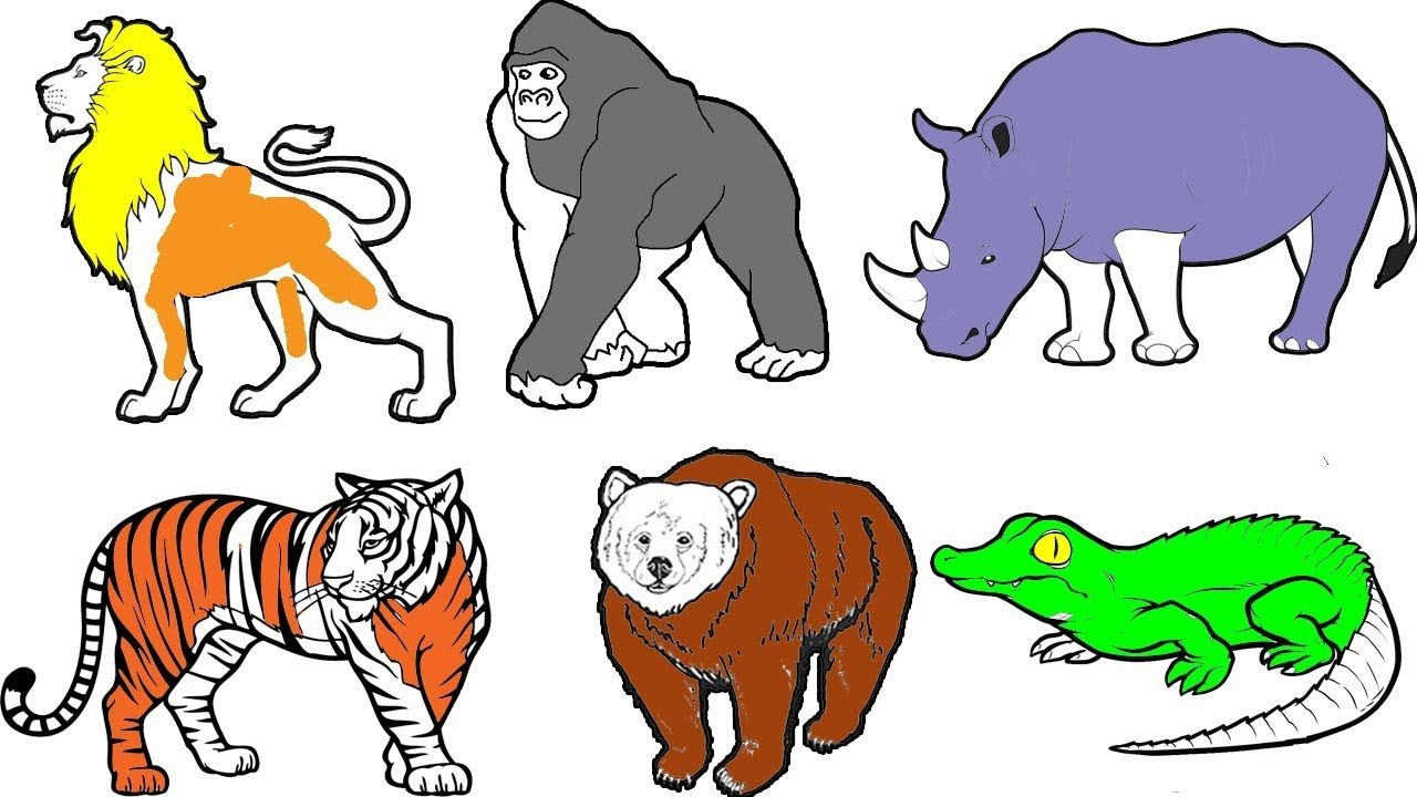 Wild Animals Coloring Pages Name And Sound Learning Animal Names For Kids Zoo Animal Coloring Pages Animal Coloring Books Bear Coloring Pages