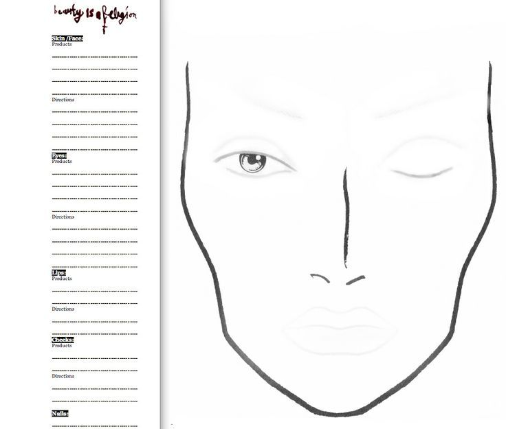 Circumstantial Printable Face Chart Printable Blank Makeup ...