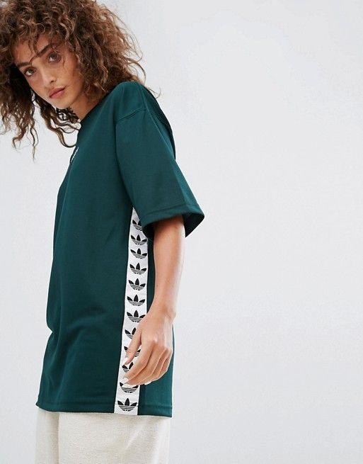 Adidas Originals TNT taped Side Stripe tee en verde - adidas